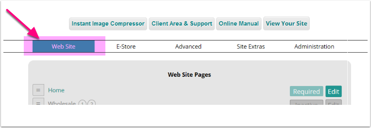 "Hover over the ""Web Site"" link in your storeadmin, and choose Pages"