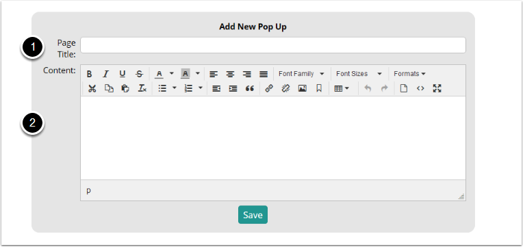 Create your popup page
